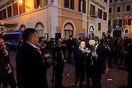 Roma 20 Aprile 2013.Proteste davanti a Montecitorio  del Movimento Cinque Stelle  per la rielezione di Giorgio Napolitano alla Presidenza della Repubblica . Roberto Fico del Movimento 5 Stelle rilasci un intervista