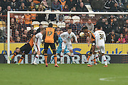 Hull City striker Chuba Akpom (19) heads towards goal during the Sky Bet Championship match between Hull City and Milton Keynes Dons at the KC Stadium, Kingston upon Hull, England on 12 March 2016. Photo by Ian Lyall.