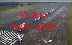 VIDEO AVAILABLE £100 per use/page   https://we.tl/t-ANUyMVHN6N    © Licensed to London News Pictures. 07/01/2019. Manston, UK. Trucks are seen leaving the runway of disused Manston airfield as they take part in a no-deal Brexit planning exercise. Up to 150 lorries are going to test traffic conditions on the 20 mile route between Manston and the Port of Dover.  Photo credit: Peter Macdiarmid/LNP