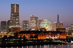 Evening view of skyline of Yokohama in Japan