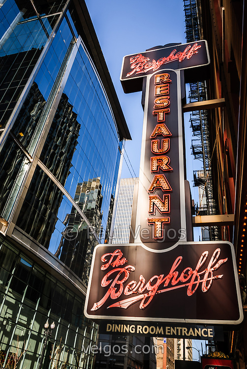 The Berghoff restaurant sign in Chicago. The famous Berghoff opened in 1898 and is one of Chicago's oldest and popular  restaurants.