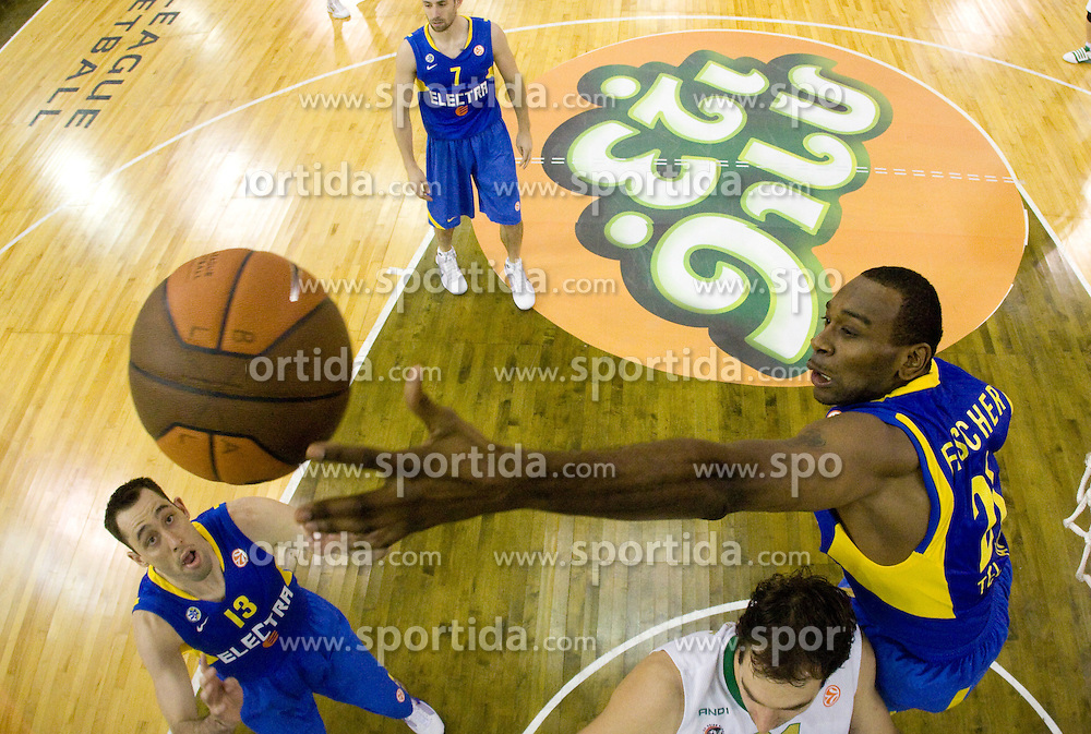 Chuck Eidson of Maccabi and D'or Fischer of Maccabi at Euroleague basketball match in 6th Round of Group C between KK Union Olimpija and Maccabi Tel Aviv, on December 3, 2009, in Arena Tivoli, Ljubljana, Slovenia. Maccabi defeated Union Olimpija 82-65. (Photo by Vid Ponikvar / Sportida)
