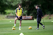 Birthday boy Jesse Curran and fitness coach Blair Doughty during Dundee FC training at Michelin Grounds, Dundee, Photo: David Young<br /> <br />  - &copy; David Young - www.davidyoungphoto.co.uk - email: davidyoungphoto@gmail.com