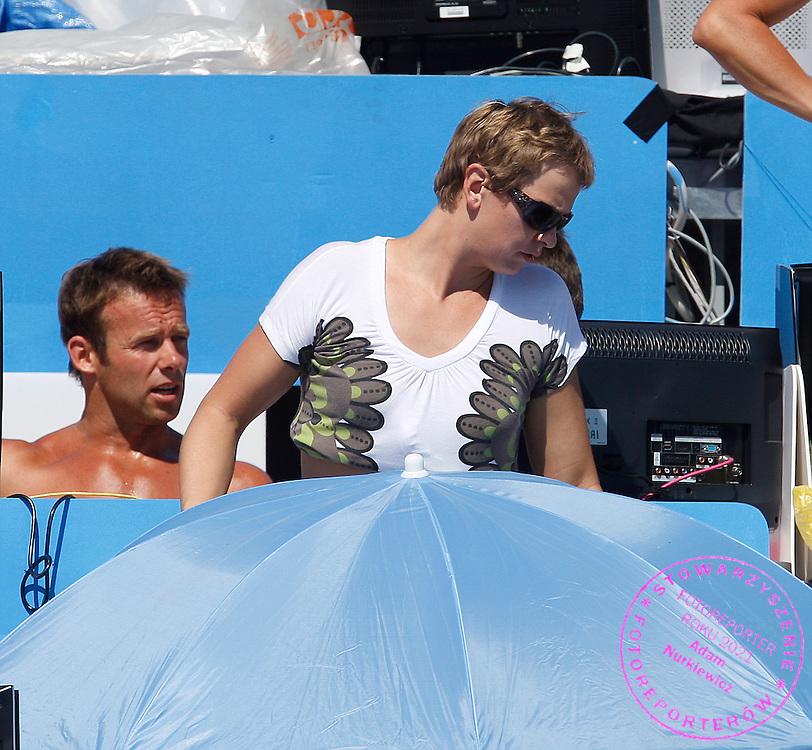 ROME 29/07/2009.13th Fina World Championships.Otylia Jedrzejczak na stanowiskach komentatorskich podczas MS w plywaniu ..photo: Piotr Hawalej / WROFOTO