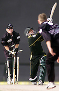 11April2002. Pakistan batsman Shahid Afridi is clean bowled by New Zealand's highest wicket taker Scott Styris during the Sharjah Cup 2002   at Sharjah Stadium.