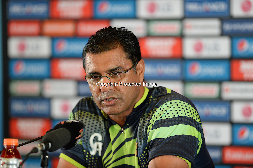 Pakistan coach Waqar Younis at the press conference after their victory over South Africa at the ICC Cricket World Cup match between Pakistan and South Africa at Eden Park in Auckland, New Zealand. Saturday 07 March 2015. Copyright Photo: Raghavan Venugopal / www.photosport.co.nz