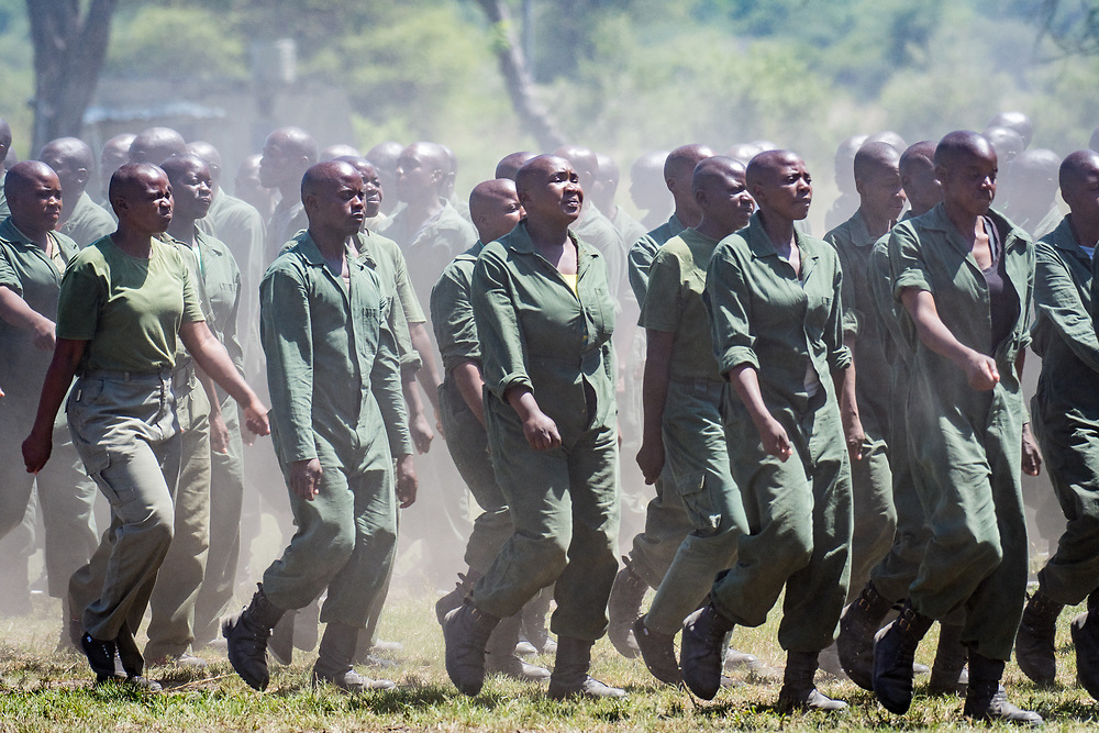 Park Rangers practicing running drills for the Hawange National Park training. Hwange, Zimbabwe