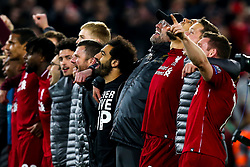 Liverpool manager Jurgen Klopp and his team sing You'll Never Walk Alone to celebrate victory over Barcelona to make the Champions League Final - Mandatory by-line: Robbie Stephenson/JMP - 07/05/2019 - FOOTBALL - Anfield - Liverpool, England - Liverpool v Barcelona - UEFA Champions League Semi-Final 2nd Leg