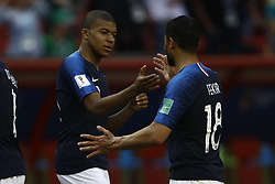 June 16, 2018 - Kazan, Kazan, Russia - Kylian Mbappe (L) and Nabil Fekir of France, during the 2018 FIFA World Cup Russia group C match between France and Australia at Kazan Arena on June 16, 2018 in Kazan, Russia. (Credit Image: © Mehdi Taamallah/NurPhoto via ZUMA Press)