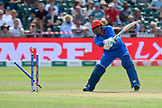 Wicket - Mujeeb Ur Rahman of Afghanistan is bowled by Pat Cummins of Australia during the ICC Cricket World Cup 2019 match between Afghanistan and Australia at the Bristol County Ground, Bristol, United Kingdom on 1 June 2019.