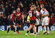 Lewis Cook (16) of AFC Bournemouth keeps Steve Cook (3) of AFC Bournemouth away from James Tomkins (5) of Crystal Palace at full time during the Premier League match between Bournemouth and Crystal Palace at the Vitality Stadium, Bournemouth, England on 1 October 2018.