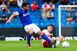 Billy Jones of Rotherham United slides in to tackle Liam Mandeville of Chesterfield - Mandatory by-line: Ryan Crockett/JMP - 20/07/2019 - FOOTBALL - Proact Stadium - Chesterfield, England - Chesterfield v Rotherham United - Pre-season friendly