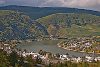 Germany, River Rhine. Looking down at a bend in the Rhine with forested hills rising in the background.