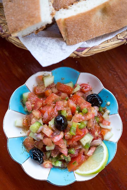 TALIOUINE, MOROCCO - October 24th 2015 - Moroccan Salad with saffron infused vinaigrette, Taliouine, Souss Massa Draa region of Southern Morocco