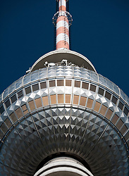 Detail of the TV television tower of Fernsehturm in Alexanderplatz Mitte District Berlin