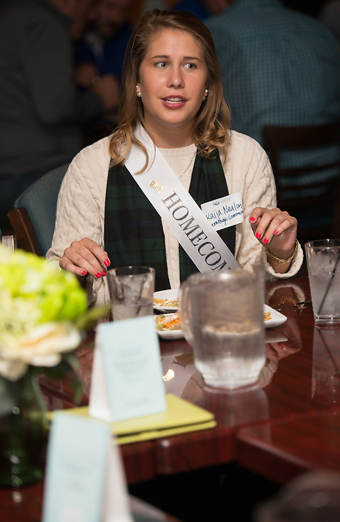 "Kaija Nealon, part of the Ohio University 2014 Homecoming Court, participates in the Homecoming ""Dinner with 12 Strangers"" event at Sol on Oct. 8, 2014. Photo by Lauren Pond"