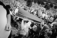 Coffins carried by hand in the cemetery of Potochari.