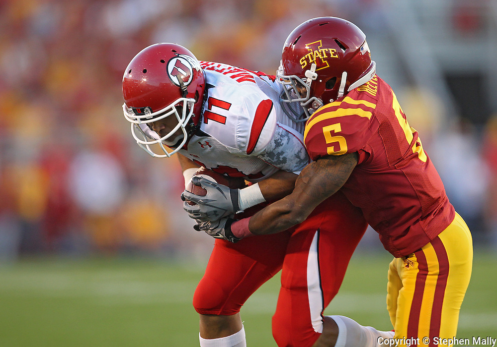 October 9 2010: Utah Utes wide receiver Luke Matthews (11) is hit by Iowa State Cyclones cornerback Jeremy Reeves (5) during the first half of the NCAA football game between the Utah Utes and the Iowa State Cyclones at Jack Trice Stadium in Ames, Iowa on Saturday October 9, 2010. Utah defeated Iowa State 68-27.