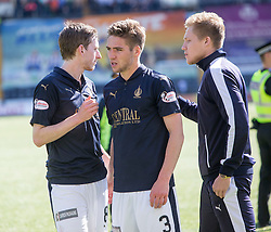 Falkirk's Blair Alston, Luke Leahy, and Peter Grant. Players and fans at the end of the game. Kilmarnock 4 v 0 Falkirk, second leg of the Scottish Premiership play-off final.