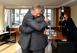 Jean-Claude Juncker, Luxembourg's prime minister, right, greets Mirek Topolanek, prime minister of the Czech Republic, before their bilateral meeting in Brussels, Belgium, Friday, Nov. 7, 2008. (Photo © Jock Fistick)