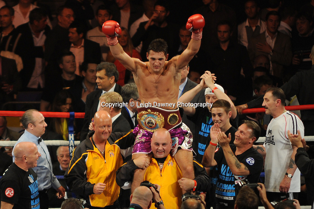 Nathan Cleverly defeats Aleksy Kuziemski at London's O2 Arena on 21st May 2011. Frank Warren Promotions. Photo credit: Leigh Dawney