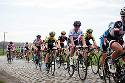 Marianne Vos (NED) and Amanda Spratt (AUS) across the cobbles at Brabantse Pijl 2018, a 136.8 km road race starting and finishing in Gooik on April 11, 2018. Photo by Sean Robinson/Velofocus.com