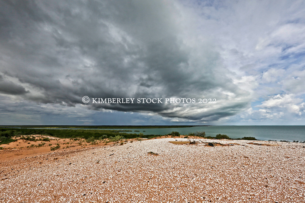 Storms roll in over Broome's Roebuck Bay toward Kennedy Hill in the 2014 wet season.