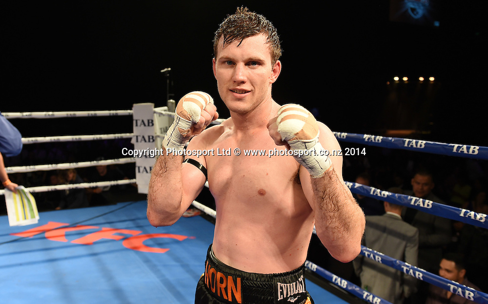 Jeff Horn v Robson Assis. KFC Fight For Life Boxing by Duco Events at the Claudelands Arena in Hamilton. New Zealand. Saturday 6 December 2014. Photo: Andrew Cornaga/www.photosport.co.nz.