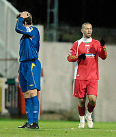 Photo: Alan Crowhurst.<br />Swindon Town v Morecambe. The FA Cup. 02/12/2006.<br />Swindon's Christain Roberts (R) celebrates his winner from the penalty spot 1-0.