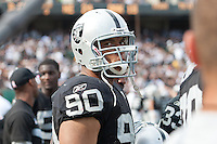 02 October 2011: Defensive tackle (90) Desmond Bryant of the Oakland Raiders against the New England Patriots during the second half of the Patriots 31-19 victory against the Raiders in an NFL football game at O.co Stadium in Oakland, CA.
