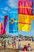 Flags in the Obelisk arena - The 2018 Latitude Festival, Henham Park. Suffolk 13 July 2018