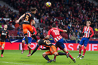 Atletico de Madrid Diego Costa and Valencia Gabriel Paulista during La Liga match between Atletico de Madrid and Valencia C.F. at Wanda Metropolitano in Madrid , Spain. February 04, 2018. (ALTERPHOTOS/Borja B.Hojas)
