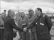 Round Europe Yacht Race.   (R61)..1987..25.07.1987..07.25.1987..25th July 1987..President Patrick Hillery started the Round Europe Yacht Race which began at Dun Laoghaire today,..President Hillery is pictured meeting with members of the RNLI lifeboat crew which is stationed at Dun Laoghaire,before he boarded the vessel to go to the race starting line.