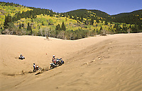The North Sand Hills Recreation Area is a popular site for visitors to ride their ATVs and trail bikes on the sand dunes. Colorado State forest State Park, Colorado.
