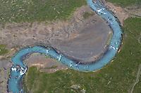 Skjalfandafljot River (glacial river), northern Iceland - aerial