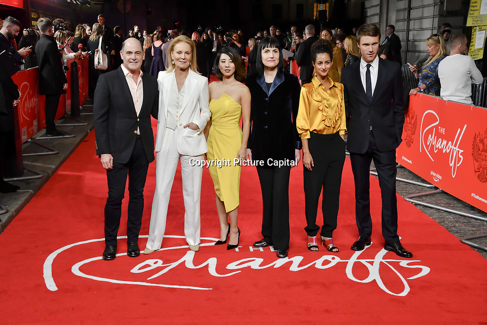 Matthew Weiner,Marthe Keller ,Jing Lusi, Adele Anderson, Ines Melab and Hugh Skinner attend The Romanoffs - World Premiere at CURZON MAYFAIR, London, Uk. 2nd October 2018.