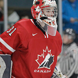 TRENTON, - Dec 10, 2015 -  Exhibition Game 3-  Russia vs Team Canada West at the 2015 World Junior A Challenge at the Duncan Memorial Gardens, ON. Matthew Murray #31 of Team Canada West during the second period (Photo: Amy Deroche / OJHL Images)