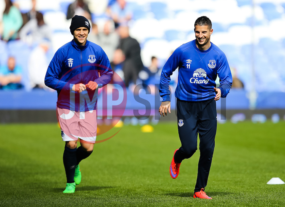 Everton's Muhamed Besic warms up with Kevin Mirallas - Photo mandatory by-line: Matt McNulty/JMP - Mobile: 07966 386802 - 04/04/2015 - SPORT - Football - Liverpool - Goodison Park - Everton v Southampton - Barclays Premier League