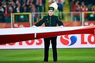 Chorzow, Poland - 2018 March 27: A miner in a gala uniform holds national flag before Poland v South Korea International Friendly Soccer match at Stadion Slaski on March 27, 2018 in Chorzow, Poland.<br /> <br /> Mandatory credit:<br /> Photo by © Adam Nurkiewicz / Mediasport<br /> <br /> Adam Nurkiewicz declares that he has no rights to the image of people at the photographs of his authorship.<br /> <br /> Picture also available in RAW (NEF) or TIFF format on special request.<br /> <br /> Any editorial, commercial or promotional use requires written permission from the author of image.