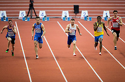 Petre Rezmives of Romania, Michael Tumi of Italy, Andrew Robertson of Great Britain, Odain Rose of Sweden and Jerai Torres of Gibraltar compete in the 60m Men heats on day two of the 2017 European Athletics Indoor Championships at the Kombank Arena on March 4, 2017 in Belgrade, Serbia. Photo by Vid Ponikvar / Sportida