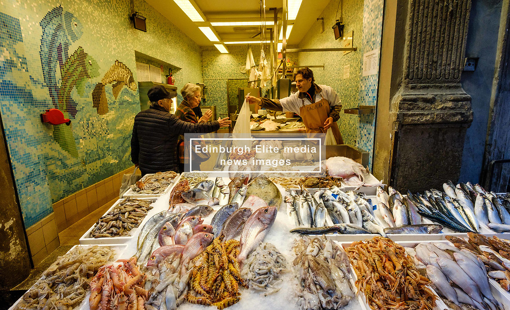 Early morning at a fish shop in the Via Drapperie, Bologna, Italy<br /> <br /> (c) Andrew Wilson   Edinburgh Elite media