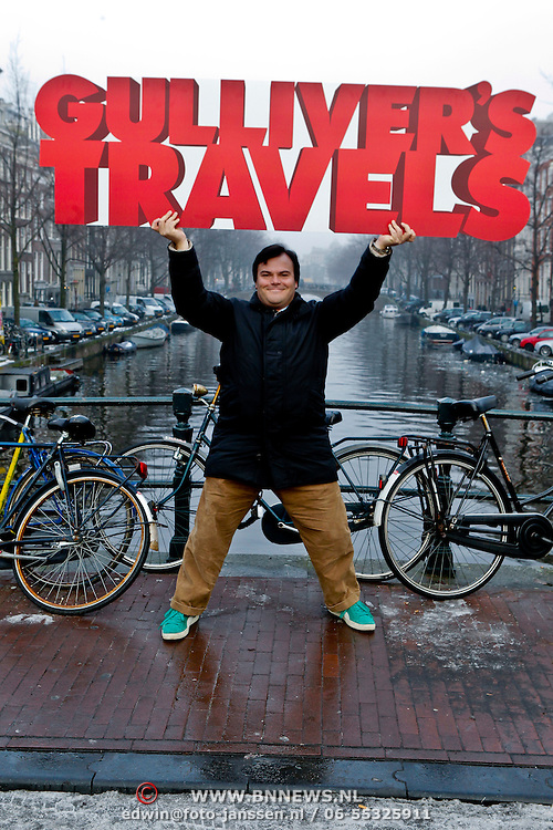 NLD/Amsterdam/20101206 - Amerikaanse acteur Jack Black in Amsterdam voor promotie Gulliver' s Travels film