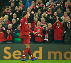 LIVERPOOL, ENGLAND - Wednesday, February 27, 2019: Liverpool's Virgil van Dijk celebrates scoring the fourth goal during the FA Premier League match between Liverpool FC and Watford FC at Anfield. (Pic by Paul Greenwood/Propaganda)