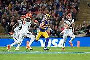 LA Rams Wide Receiver Cooper Kupp (18) catches a pass and runs during the International Series match between Los Angeles Rams and Cincinnati Bengals at Wembley Stadium, London, England on 27 October 2019.