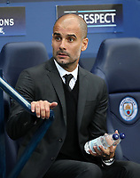 Football - 2016 / 2017 Champions League - Qualifying Play-Off, Second Leg: Manchester City [5] vs. Steaua Bucharest [0]<br /> <br /> Pep Guardiola Manager of Manchester City during the match, at the Ethihad Stadium.<br /> <br /> COLORSPORT/LYNNE CAMERON