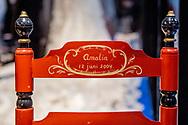 AMSTERDAM - Huwelijk op 02-02-2002 bruidsjurk koningin maxima De perspreview voor de programmering van 50 jaar - Koninklijk Paleis Amsterdam. Ter gelegenheid van zijn 50ste verjaardag ontvangt Koning Willem-Alexander 150 gasten voor een feestelijk diner. Na het diner wordt het Paleis 50 uur opengesteld voor het publiek. De start van de openstelling wordt met een feestelijk moment op de Dam gemarkeerd. copyright ROBIN UTRECHT