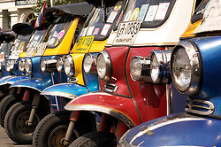 TukTuk taxis parked in a row in Bangkok Thailand