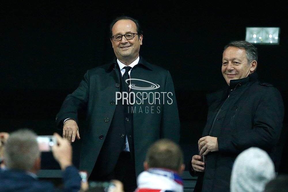 French President Francois Hollande looks on during the French League Cup, Final football match between AS Monaco and Paris Saint-Germain FC on April 1, 2017 at the Parc Olympique Lyonnais stadium in Decines-Charpieu near Lyon, France - Photo Benjamin Cremel / ProSportsImages / DPPI