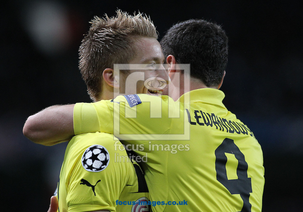 Picture by Michael Sedgwick/Focus Images Ltd +44 7900 363072.03/10/2012.Marco Reus (L) of Borussia Dortmund celebrates with his team mates after scoring the first goal against Manchester City during the UEFA Champions League match at the Etihad Stadium, Manchester.
