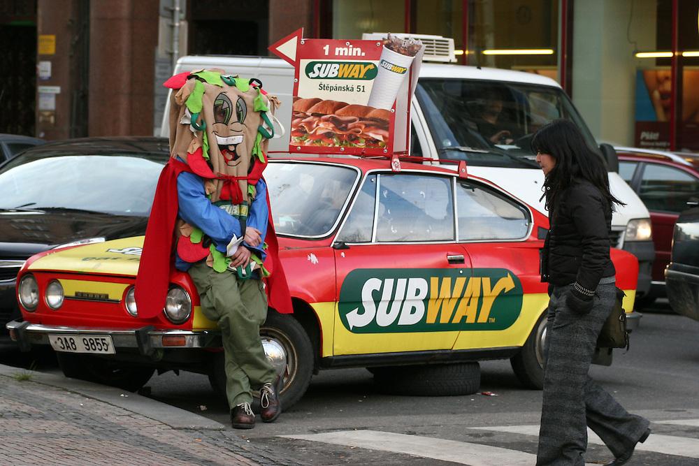 Advertising for a sandwich restaurant at Prague Wenceslas Square.
